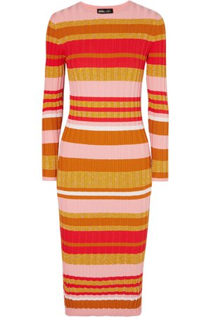 Stine Goya | Jeanne metallic striped ribbed-knit midi dress | NET-A-PORTER.COM