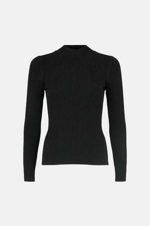 Knit Rib Long Sleeve Funnel Neck Top | Karen Millen