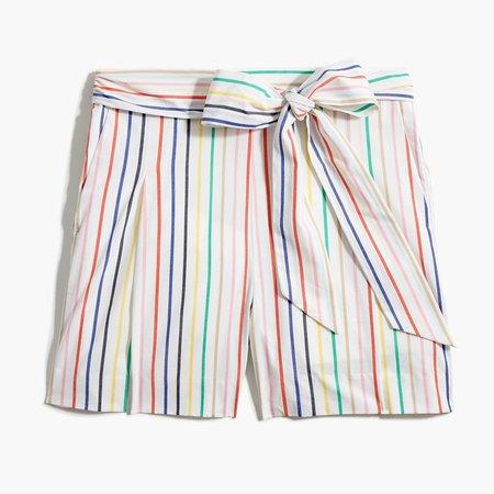 Striped tie-waist short in stretch cotton poplin