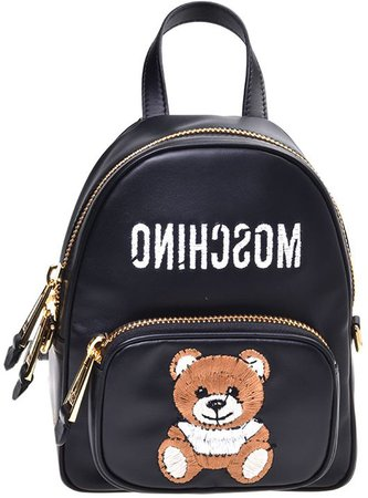 Logo & Teddy Embroidered Leather Backpack