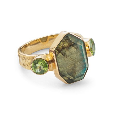 Labradorite & Peridot Ring - Women's Romantic & Fantasy Inspired Fashions