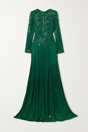 Forest green Tenille embellished satin gown | Jenny Packham | NET-A-PORTER