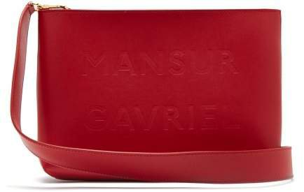 Logo Debossed Leather Cross Body Bag - Womens - Red