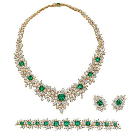 Emerald Diamond Gold Jewelry Suite at 1stdibs
