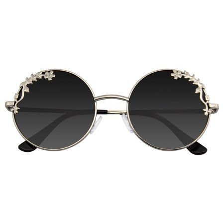 *clipped by @luci-her* Emblem Eyewear - Womens Flower Floral Boho Round Mirror Sunglasses