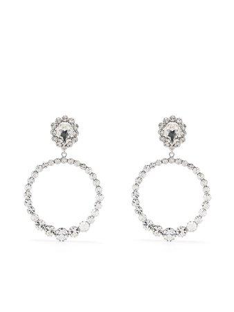 Alessandra Rich crystal-embellished Drop Hoop Earrings - Farfetch