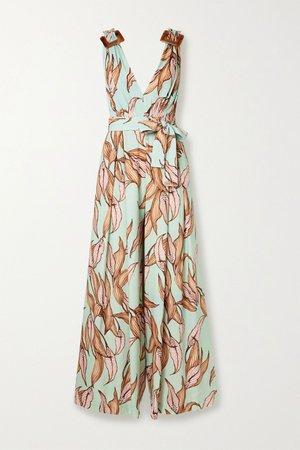 Mint Belted floral-print crepe jumpsuit | PatBO | NET-A-PORTER