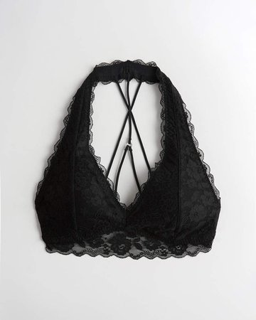 Girls Gilly Hicks Lace Strappy Halter Bralette | Girls New Arrivals | HollisterCo.com black