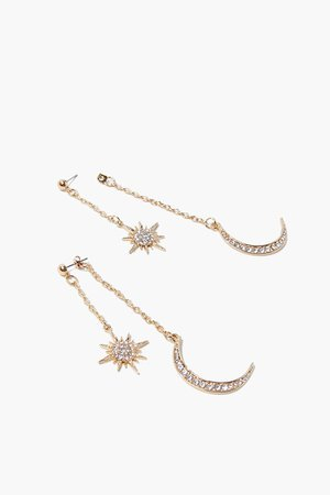 Rhinestone Moon & Stars Drop Earrings | Forever 21