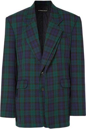 Y/PROJECT   Oversized plaid twill blazer   NET-A-PORTER.COM