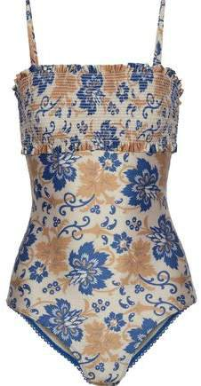 Shirred Printed Swimsuit
