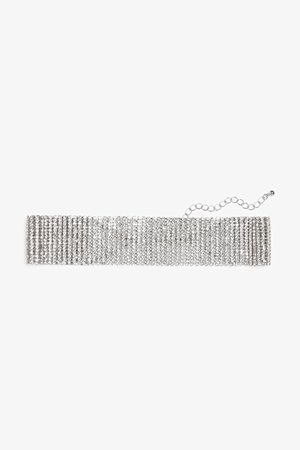 Diamante choker necklace - Silver metallic - Necklaces - Monki WW