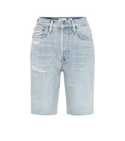 Re/Done - 80s Long high-rise denim shorts | Mytheresa