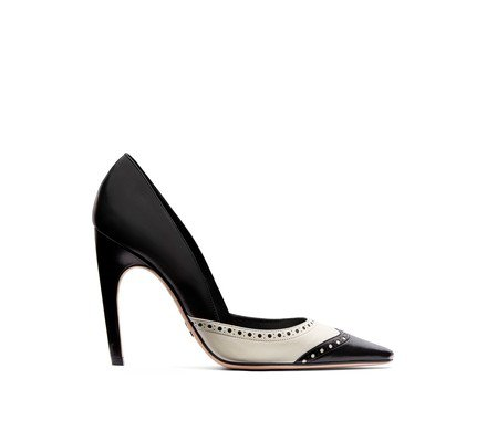 """""""SPECTADIOR"""" HIGH-HEELED SHOE IN OFF-WHITE AND BLACK PERFORATED KID LEATHER"""