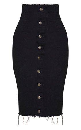 Shape Black Button Front Seam Denim Midi Skirt   PrettyLittleThing