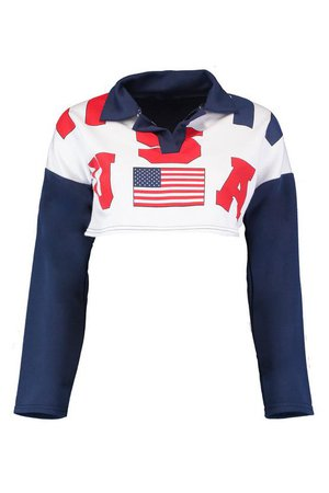 Hollie USA Crop Rugby Top | boohoo