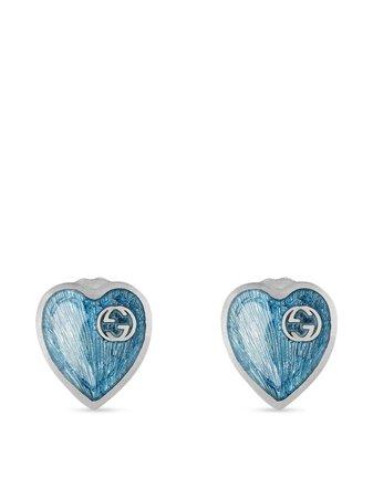 Gucci Interlocking G heart stud earrings - FARFETCH