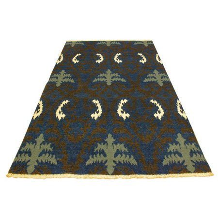 Cianna Modern Ramonita Blue/Ivory Wool & Viscouse Rug - 4'1 X 6'3 | Chairish