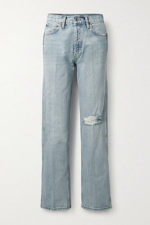 90s Distressed High-rise Straight-leg Jeans - Light denim