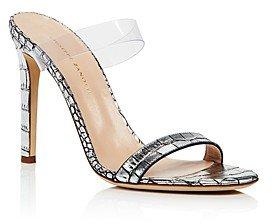 Women's Double Strap High-Heel Slide Sandals
