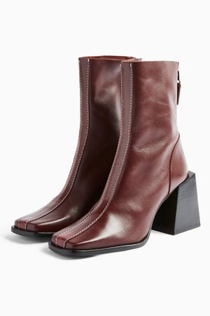 HADES Leather Red Boots | Topshop