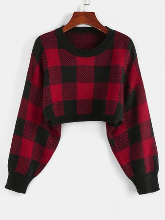 [32% OFF] 2020 ZAFUL Plaid Drop Shoulder Crop Sweater In CHESTNUT RED | ZAFUL
