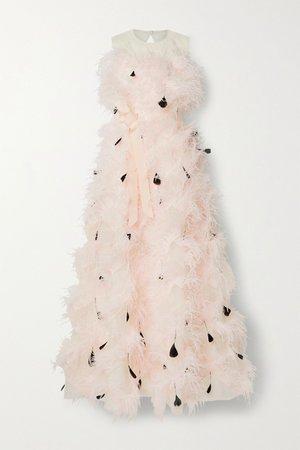 Pastel pink Mystique feather-trimmed cutout silk-organza gown   Huishan Zhang   NET-A-PORTER