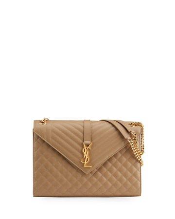 Saint Laurent Monogram YSL V-Flap Large Tri-Quilt Envelope Chain Shoulder Bag - Golden Hardware   Neiman Marcus