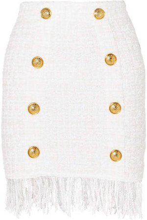 Button-embellished Fringed Bouclé Mini Skirt - White
