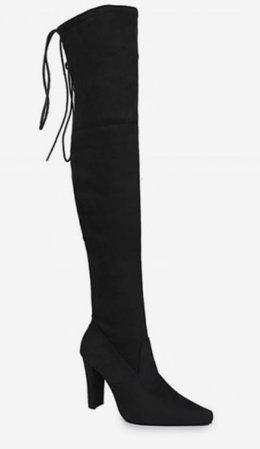 Plain Pointed Toe High Heel Thigh High Boots