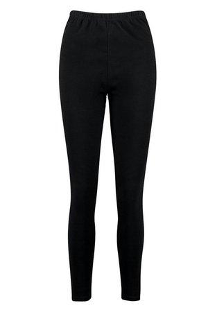 Basic High Waist Jersey Leggings   boohoo black
