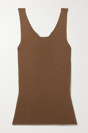 Ribbed-knit Tank - Brown