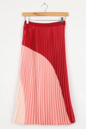 Pink Midi Skirt - Color Block Skirt - Pleated Midi Skirt - Lulus