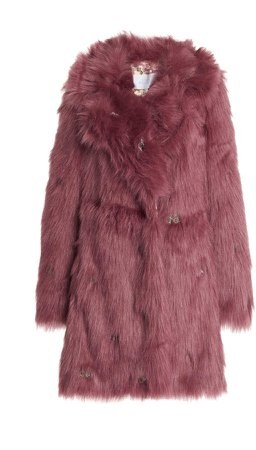 Luisa Beccaria Embroidered Faux-Fur Coat