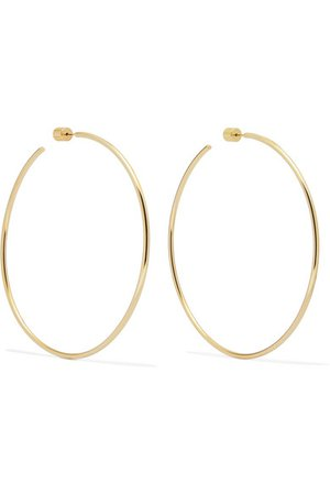 "Jennifer Fisher | 3"" Thread gold-plated hoop earrings 