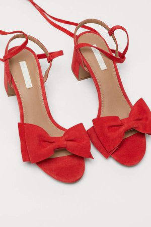 Suede Sandals - Red