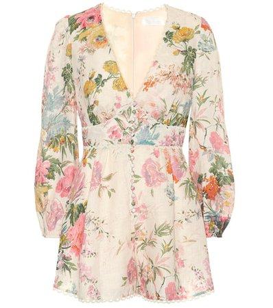 Heathers floral linen playsuit