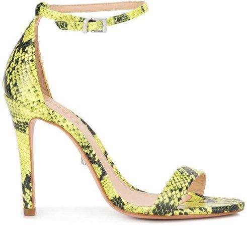 neon snake print sandals