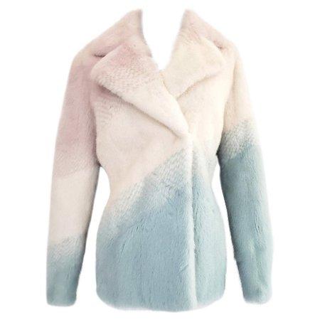 New Versace pastel mink fur jacket For Sale at 1stdibs