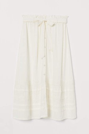 Lace-trimmed Skirt - White