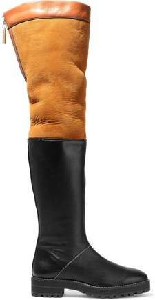 Two-tone Shearling And Leather Over-the-knee Boots