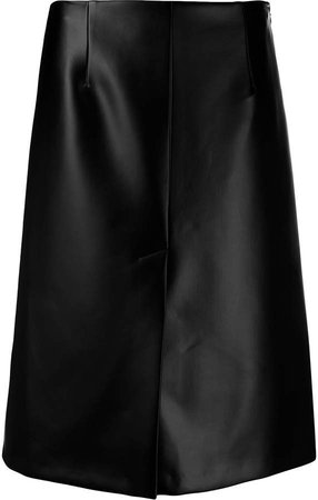 a-line leather effect skirt