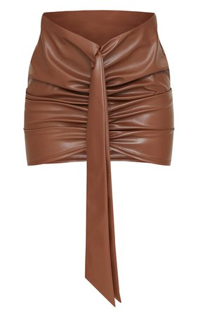 Camel Faux Leather Foldover Mini Skirt   PrettyLittleThing USA