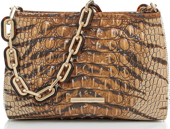 Mod Lorelei Tiger Stripe Croc Embossed Leather Shoulder Bag