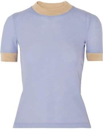 Eva Ribbed Lyocell T-shirt - Sky blue