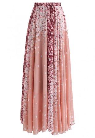 Cherry Blossom Watercolor Chiffon Maxi Skirt - Skirt - BOTTOMS - Retro, Indie and Unique Fashion