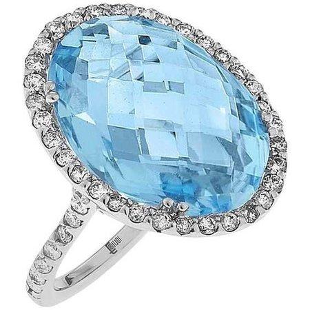 Carat Blue Topaz Diamond Gold Oval Ring (£2,140)