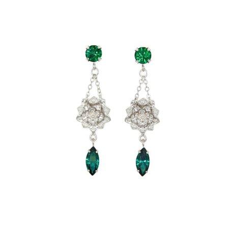Petite Flower Earrings - Emerald | Rosaspina Firenze | Wolf & Badger