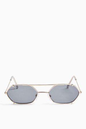CLIP Gold Hexagon Sunglasses | Topshop