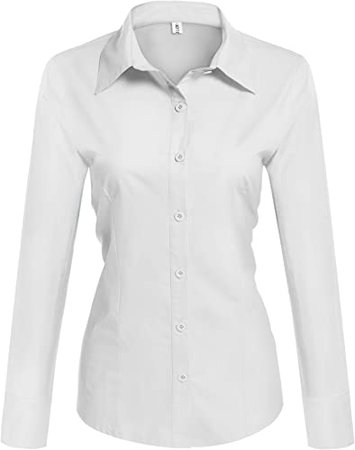 Hotouch Womens Cotton Basic Button Down Shirt Slim Fit Dress Shirts at Amazon Women's Clothing store
